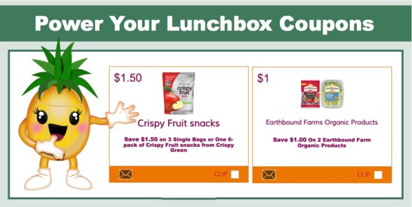 NEW Power Your Lunchbox Coupons - SAVE $2.50 on Crispy Fruit Snacks and Earthbound Farms!