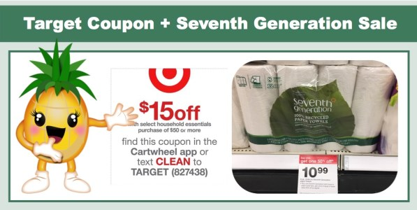Target $15 off $50 Household Essentials Coupon + Stack with Seventh Generation Sale!