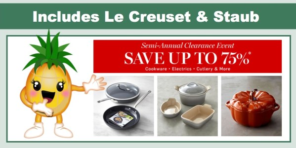 Williams Sonoma Clearance Event Includes La Creuset and Staub Cast Iron Cookware
