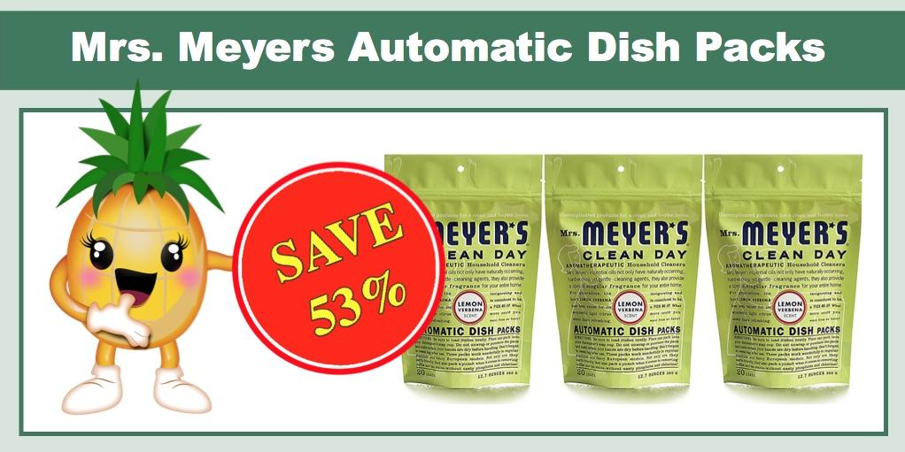 hot mrs meyers automatic dish packs lemon verbena 3 pk