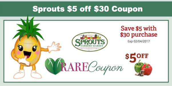 Sprouts $5 off $30 Purchase Coupon