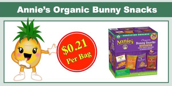 Annie's Organic Bunny Snacks (36 Count) - ONLY $7.59 (or $0.21 per bag)!
