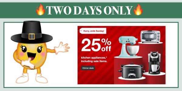Target 25% off Kitchen Appliances