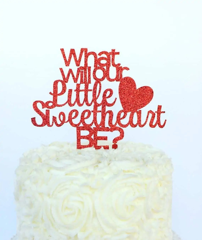 valentine's day gender reveal cake topper