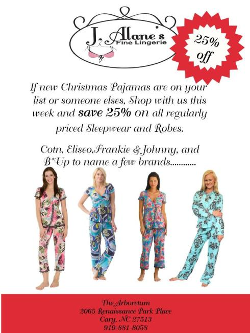 Pajama sale at J. Alane's in Cary
