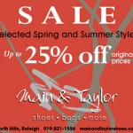 25 percent off shoes at Main and Taylor