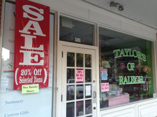Summer Sale - up to 20% off - at Taylor's of Raleigh