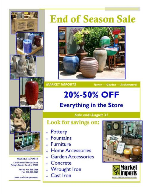 20-50% off at Market Imports in Raleigh