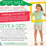 Everything $17.50 and under at the Chez Ami Tent Sale