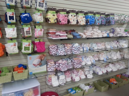 Variety of cloth diaper options at SweetBottoms Baby