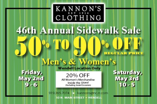 Up to 90% off at Kannon's annual sidewalk sale in Wendell