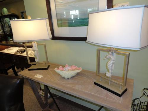 Sea horse accent lamps at Home Again in Wilmington