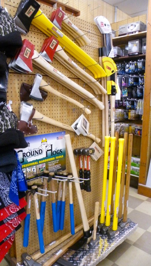 Yard tools and axes at Burke Brothers Hardware in Raleigh