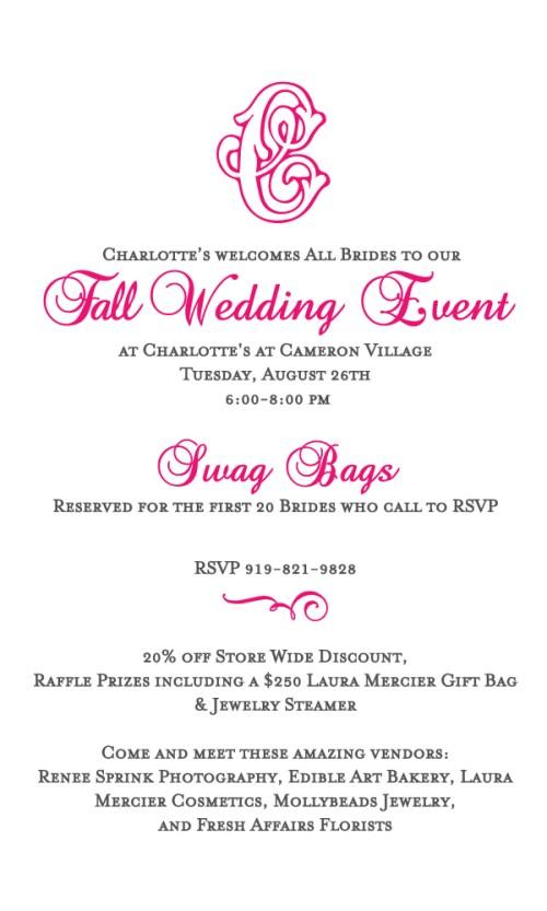 Charltote's Fall Wedding Event