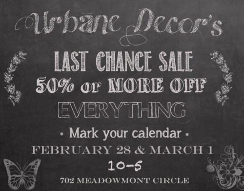 Urbane Decor last chance sale