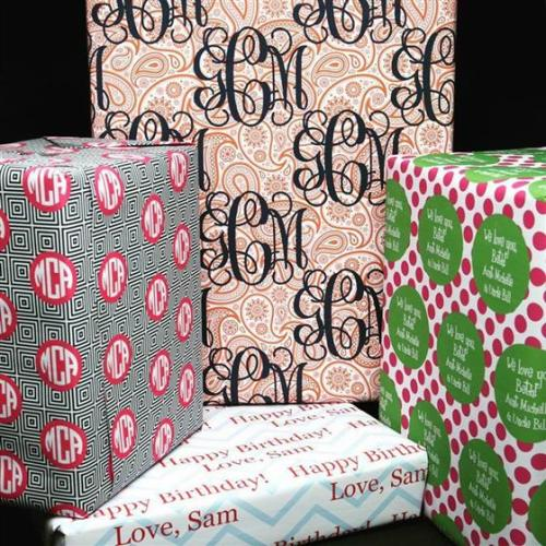 Personalized, monogrammed wrapping paper from Cute Buttons Gift and Paper Boutique in Downtown Cary