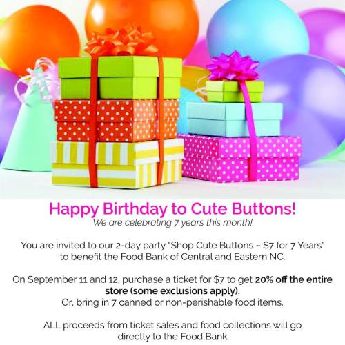 Cute Buttons celebrates, but the Food Bank wins!