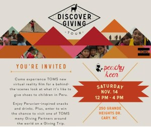 TOMS Giving Tour coming to Peachy Keen!
