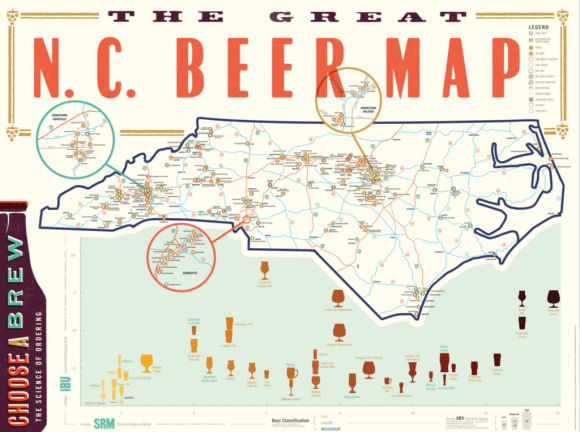 NC Beer Map at the Glass Jug in Durham