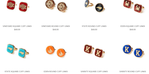 Personalized and NC cufflinks for the well-dressed man in your life from Moon & Lola