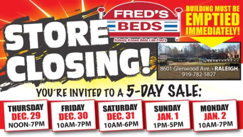 Fred's Beds announces store closing sale at Glenwood Avenue beginning Dec. 29