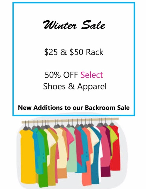 January savings on sale items at Kristen's in Cameron Village