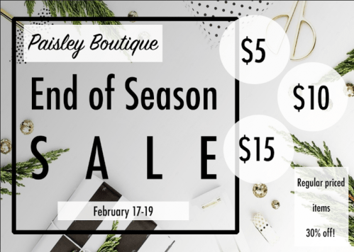 End of season sale at Paisley in Raleigh, Cary, and online.