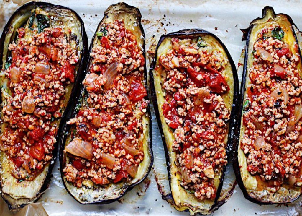Eggplant Parm with Spicy Garlic/Basil Chicken