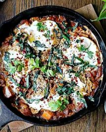 Paleo Shakshuka Eggs recipe with Sweet Potatoes in Tomato Sauce