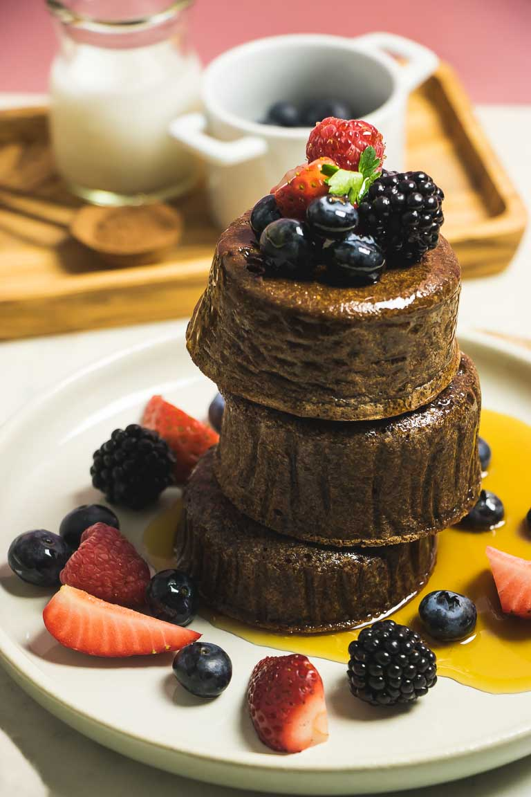 Fluffy Paleo Tigernut Flour Chocolate Souffle Pancakes recipe perfectly healthy, easy, and AIP pancake recipe.