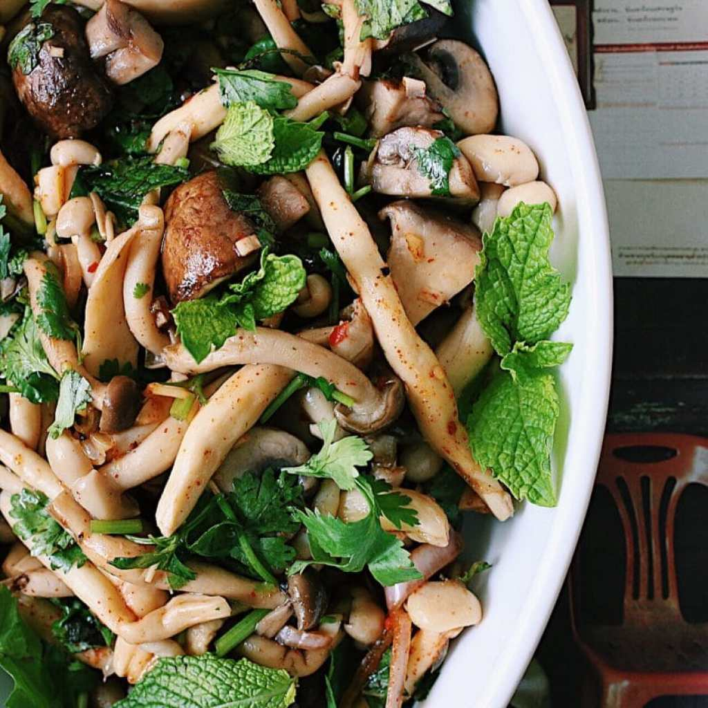 Forest Mushroom Salad with Parsley and Mint