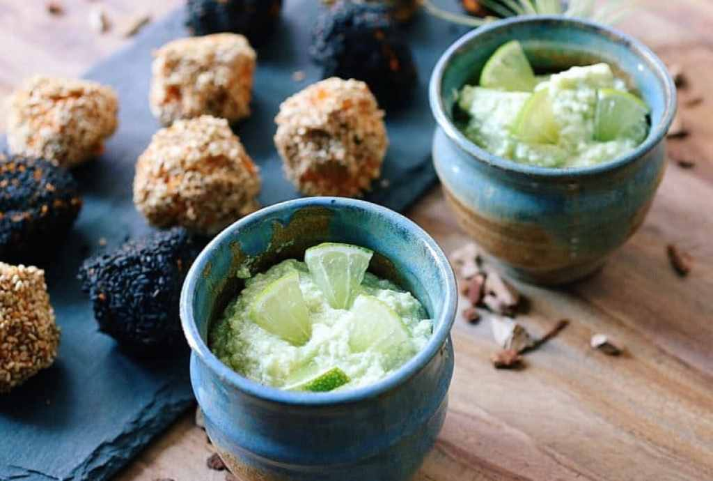 Sesame Sweet Potato Truffles with Creamy Avocado Dipping Sauce