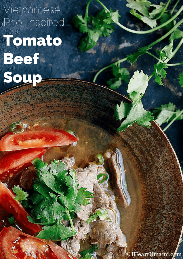 Vietnamese Pho-inspired Tomato Beef Soup! Enjoy this delicious Tomato Beef Soup to keep you warm throughout the winter. Paleo, Whole30, Keto, family friendly !
