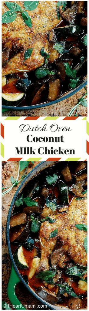 Dutch oven red coconut milk chicken! Delicious chicken half roasted and half simmered in red curry and creamy coconut milk. Perfect winter and holiday dish. Paleo, Whole30. Easy holiday recipe. Follow the lovely pic for cooking instructions!