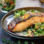Paleo Thai sweet chili salmon. Paleo tabbouleh. Paleo tabouli. Paleo baked salmon. Paleo Thai sweet chili sauce.