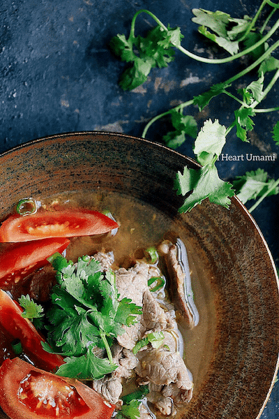 Paleo Vietnamese Pho-inspired Tomato Beef Soup. Paleo Pho. Paleo Asian Tomato Beef Soup. Paleo Chinese food. Paleo Asian food. IHeartUmami.com
