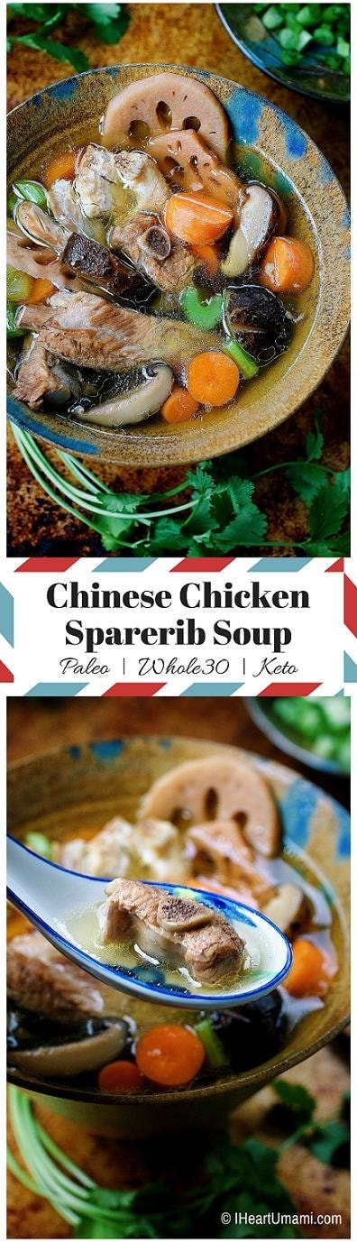 Soul nourishing instant pot and slow cooker Paleo Chinese Chicken Sparerib Soup with homemade bone broth to keep you warm and nourished throughout the colder months. Follow the link to make this easy and delicious homemade bone broth ! IHeartUmami.com
