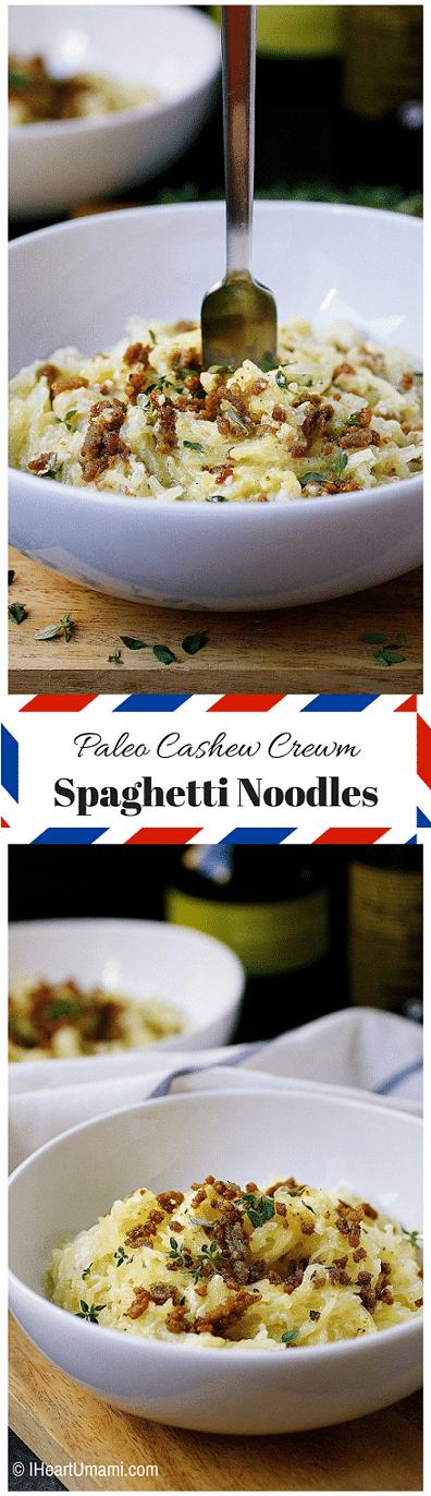 Paleo Spaghetti Noodles Cashew Cream Sauce ! Delicious Paleo spaghetti squash noodles paired with creamy and smooth cashew cream sauce, topped with crispy crumbled minced pork ! Super uber yum ! Paleo noodles. Whole30 noodles. Cashew Cream Sauce. IHeartUmami.com