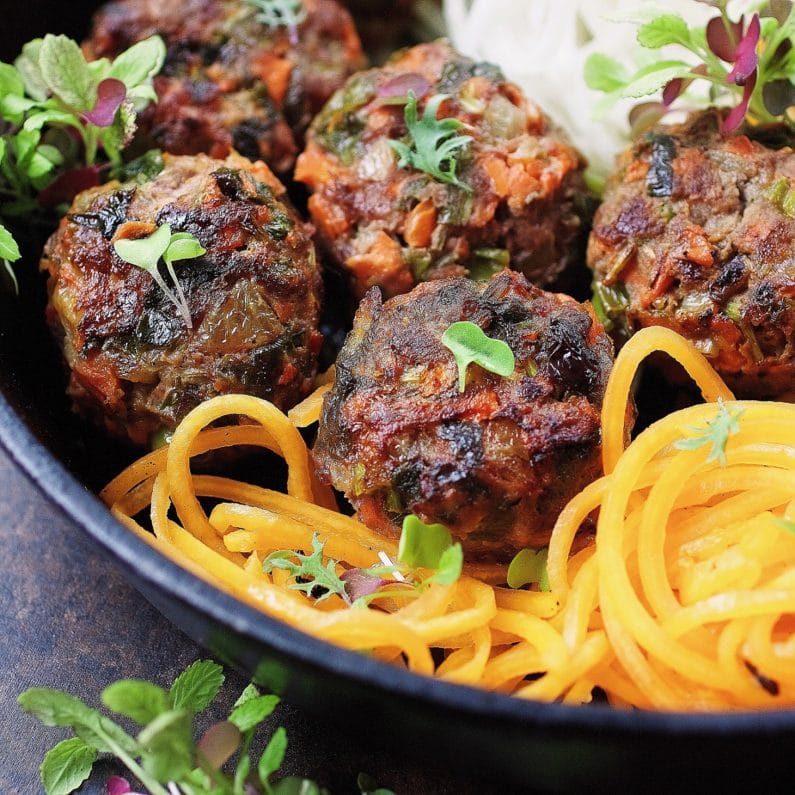 Paleo Asian Meatballs - Paleo jumbo size meatballs filled with vegetables and savory herbs. Whole30 Asian meatballs. Keto Asian meatballs. Paleo Chinese food. Paleo Asian food. IHeartUmami.com