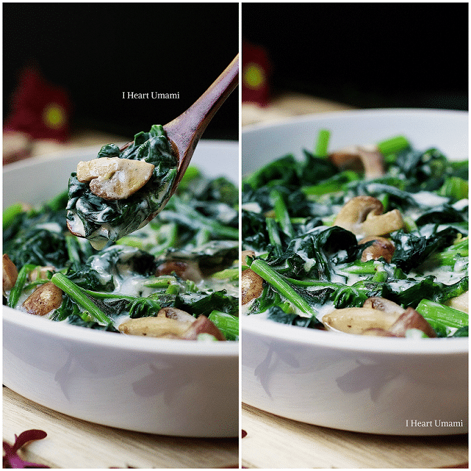 Paleo Creamed Spinach. Creamy and delicious Paleo spinach/vegetable side dish. Low carb recipe. Dairy free. Gluten free. IHeartUmami.com