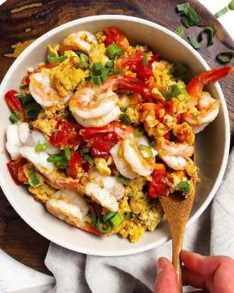 Paleo Chinese Shrimp Tomato Stir-Fry Whole30 Stir-Fry Shrimp Recipe with silky scrambled eggs.