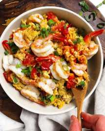 Paleo Chinese Shrimp Tomato Stir-Fry Whole30 Stir-Fry Shrimp Recipe with silky scrambled eggs.