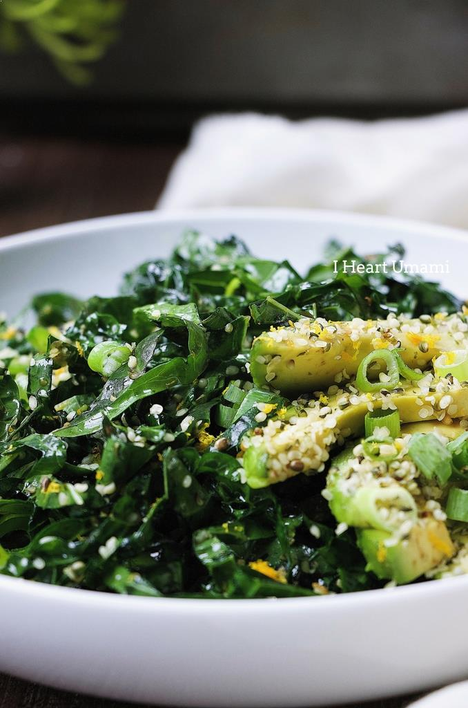 Paleo triple green kale salad ! Healthy easy Kale salad recipe with avocado, snow peas, and hemp seeds in light Asian soy-free ginger sesame dressing. Whole30, Keto, and vegan friendly !