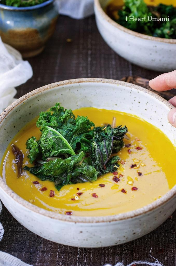 Gluten dairy free Turmeric Ginger Kabocha Squash Soup recipe to keep you healthy and warm throughout colder months