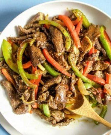Chinese Pepper Steak Stir-Fry Recipe Paleo Whole30 Keto Gluten Free.