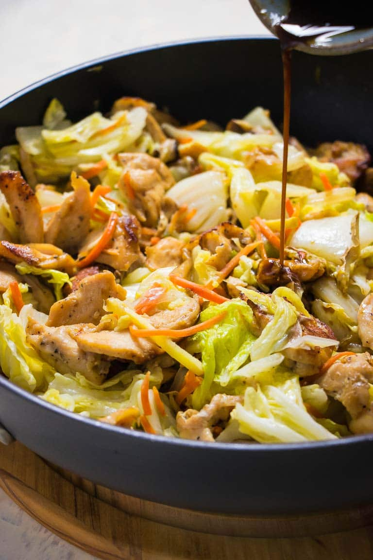 Paleo Chicken Stir-Fry Recipe with Napa Cabbage and Shiitake Mushrooms.