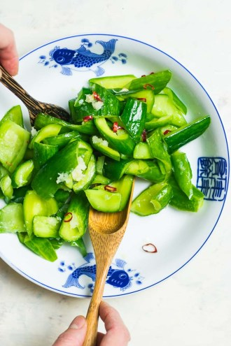 Easy Chinese Smashed Cucumber Salad recipe Paleo, Whole30, Keto, AIP cucumber salad.