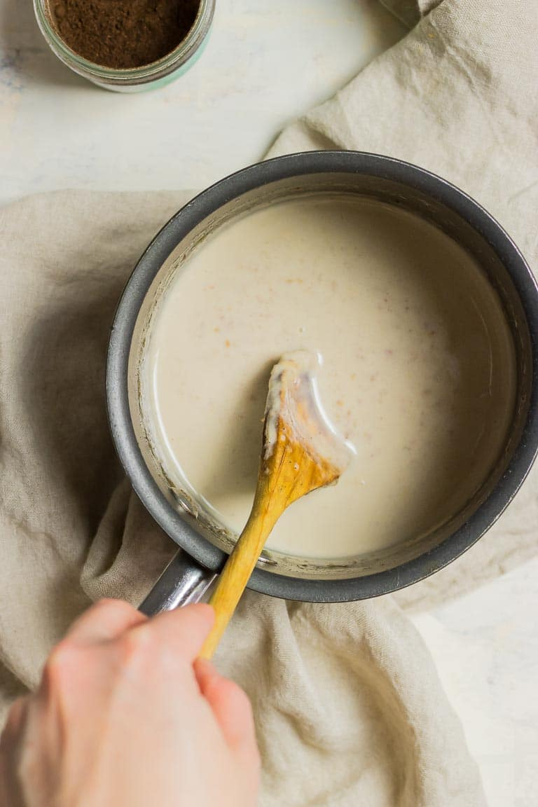 Healthy Dairy-Free Paleo Condensed Milk with coconut milk or dairy-free milk sweetened with dates.