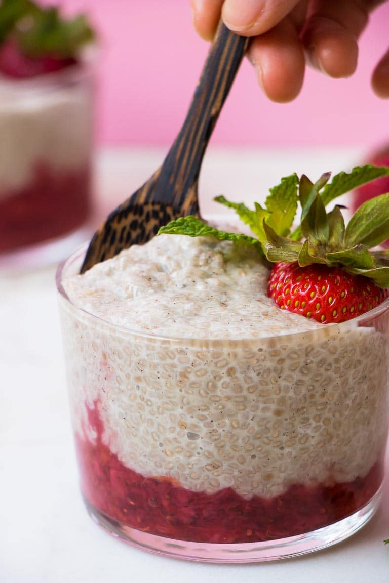 Paleo Strawberry Chia Pudding with strawberry compote vegan chia pudding recipe