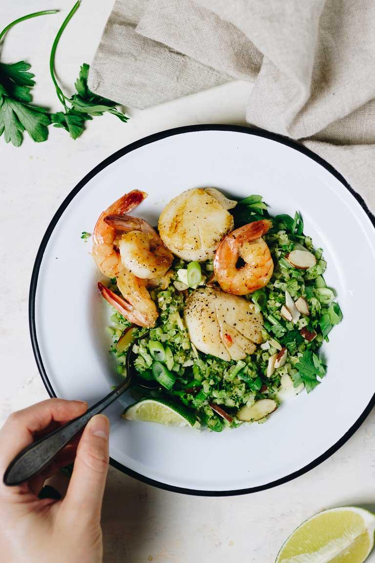 Paleo Broccoli Fried Rice recipe with riced broccoli.